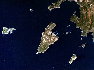 Kastellorizo - Satellite picture of the island.