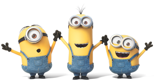 Minions (Despicable Me) - (Left to right) Stuart, Kevin, and Bob, the principal Minions seen in the film Minions