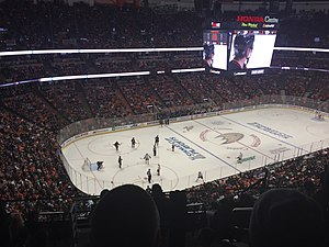 Honda Center - The New Scoreboard at Honda Center as seen from Section 438 during the 2016 Stanley Cup Play-offs on April 27, 2016.