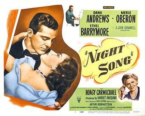 Night Song (film) - 1948 half-height US Theatrical Poster