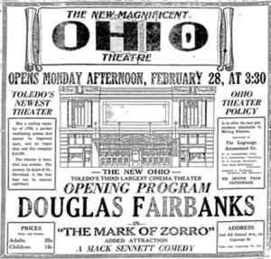 Ohio Theatre (Toledo, Ohio) - Image: Ohio Theatre Program