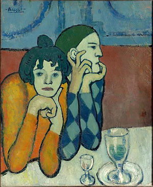 Picasso's Blue Period - Image: Pablo Picasso, 1901, Harlequin and his Companion (Les deux saltimbanques), oil on canvas, 73 x 60 cm, Pushkin Museum, Moscow