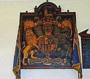 Arms of Queen Anne featuring the French fleur-de-lys.