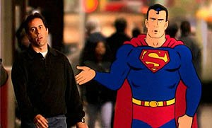 "The Adventures of Seinfeld & Superman - Seinfeld and Superman walking in ""A Uniform Used to Mean Something."""