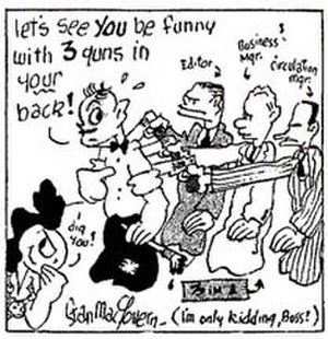 Stan MacGovern - Stan MacGovern self-portrait in this Silly Milly promotional strip (March 1942)