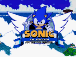 "A cartoon hedgehog looks upward optimistically at the camera. He appears in a logo that forms the focal point of the screen and contains the text ""Sonic the Hedgehog: After the Sequel"". The background consists of clouds over a shimmering ocean, with part of an island visible in the lower-right corner."
