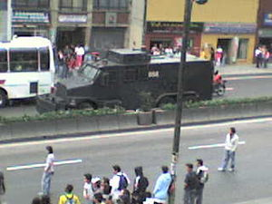 Mobile Anti-Disturbance Squadron - APC used by the ESMAD in a protest against George W. Bush's visit to Bogotá.