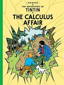 Tintin, Snowy, Haddock, and an unconscious Calculus hide behind boulders in a forest while armed soldiers run by, searching for them. We are viewing the scene through a nearly shattered piece of glass.