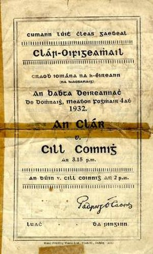1932 All-Ireland Senior Hurling Championship Final - Image: 1932 All Ireland Senior Hurling Championship Final prog