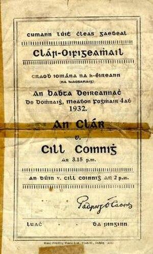 1932 All-Ireland Senior Hurling Championship Final - Image: 1932 All Ireland Senior Hurling Championship Final prog