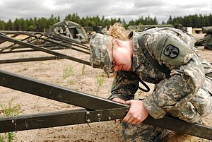 371st Sustainment Brigade (United States) - A soldier of the brigade builds a barracks during an exercise in Michigan in 2008.