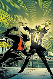 Cover art by Bruce Timm from the Batman Beyond comic book miniseries, depicting Batman battling Blight.