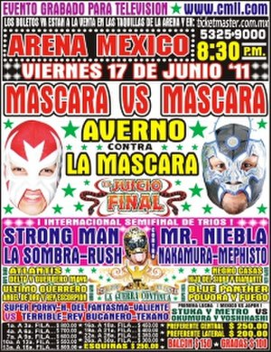 Juicio Final (2011) - The official poster for Juicio Final, showing the masks of La Máscara (red) and Averno (black) that were on the line in the main event