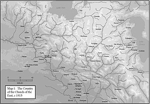 Dioceses of the Church of the East after 1552 - The lands in 1913 corresponding to those of the Church of the East after the schism of 1552.