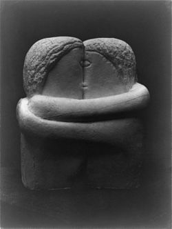 Constantin Brancusi, 1907-08, The Kiss, Exhibited at the Armory Show and published in the Chicago Tribune, 25 March 1913..jpg