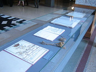 Constitution of Denmark - The Constitutions of Denmark located inside Folketinget.