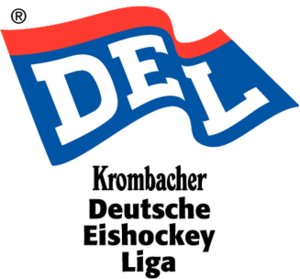 Deutsche Eishockey Liga - Former DEL logo (1994–1996). The first two seasons were sponsored by Krombacher Brewery