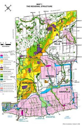 Regional Municipality of Halton - Identification of urban and rural features of the Region.