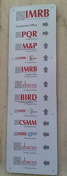 Sign Outside IMRB offices in Mumbai listing out its divisions.