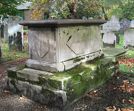 "Tomb of Isaac Watts (died 1748), ""Father of English Hymnody"" Isaac Watts DD tomb in Bunhill Fields.jpg"