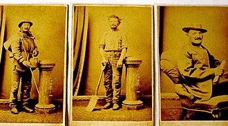 Joseph Jenkins - The three Australian faces of Joseph Jenkins: Swagman, rural labourer and man of letters. He had the photos taken in March 1871 to post home to Wales in explanation of the life he was leading. Each role was amplified by an accompanying descriptive poem of over 20 lines.