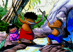 A boy in shorts and wearing a paper hat holds a stick.  He crosses the stick against a wooden sword, held by another boy who wears a red sarong (a wrap-around garment).  A girl in a dress stands behind the sword-wielding boy.