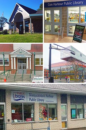 Halifax Public Libraries - Clockwise from top right: Cole Harbour, Central, Musquodoboit Harbour, Sackville, and Shatford Memorial branches.