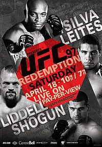 A poster or logo for UFC 97: Redemption.
