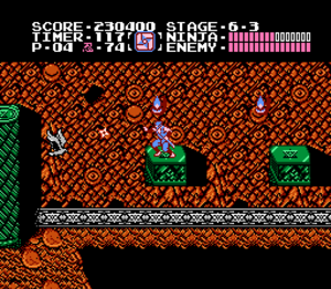 Ninja Gaiden (NES video game) - Gameplay in which the player-character Ryu Hayabusa is about to destroy an enemy bird with his current secondary weapon—a shuriken