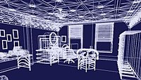 An image of an office created in a 3D wireframe mesh (white on blue); the office has two windows, a desk, an oval-shaped computer monitor, and additional furniture. The walls and decorations of the furniture have art-deco stylings to them.