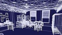 Ein Bild eines Büros, das in einem 3D-Drahtgitter (weiß auf blau) erstellt wurde.  Das Büro verfügt über zwei Fenster, einen Schreibtisch, einen ovalen Computermonitor und zusätzliche Möbel.  Die Wände und Dekorationen der Möbel sind im Art-Deco-Stil gestaltet.