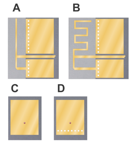 A: printed inverted-F antenna, B: meandered printed inverted-F antenna: C: patch antenna: D: Planar inverted-F antenna (PIFA) Board without ground plane Board with ground plane Antenna feed pin Ground pin PIFA antennae.png