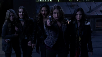 A Is for Answers - Hanna (Ashley Benson) wields A's gun while she, Aria (Lucy Hale) and Spencer (Troian Bellisario) threaten A to reveal themself and Alison (Sasha Pieterse) and Emily (Shay Mitchell) stand behind.