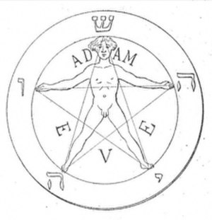 "Yahshuah - Occultistic pentagram showing the five Hebrew letters of the ""Pentagrammaton"" from the 1897 book ""La Clef de la Magie Noire"" by Stanislas de Guaita."