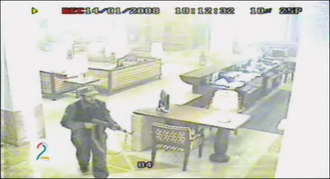 2008 Kabul Serena Hotel attack - Shot of the perpetrator by a surveillance camera in the lobby of the Serena Hotel in Kabul.