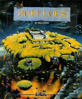 Populous (video game) - European cover art by David John Rowe