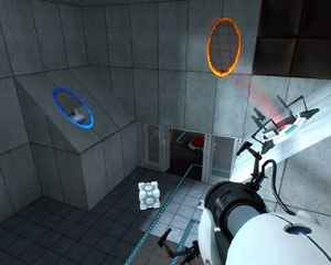 Portal (video game) - A typical Portal test chamber, with both of the player's colored portals opened. The Weighted Companion Cube can also be seen. The clean, spartan look to the chambers was influenced by the film The Island.