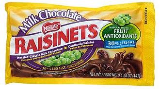 Chocolate-covered raisin - Raisinets, a brand of chocolate-covered raisin