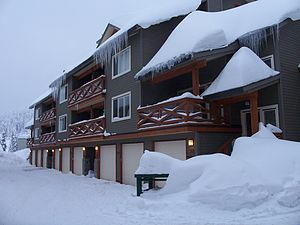 A row of vacation homes at Big White Ski Resor...