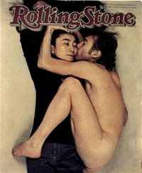 Yoko Ono clothed, embraced and kissed by John Lennon nude