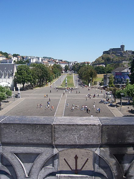 Looking out onto Rosary Square from the roof of the Basilica RosarySquare.jpg