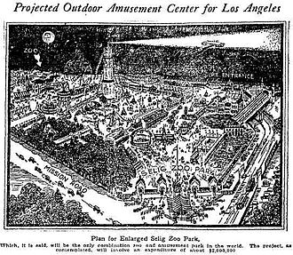 Selig Polyscope Company - Promotional drawing for the planned Selig Zoo Park in East LA, with light rail connections, cars speeding towards the entrance and long lines depicted at the gate. Only a single carousel was ever built and the site struggled as a lightly visited zoo for over a decade.