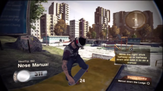 Skate 2 - A screenshot from a challenge in Skate 2 showing the player character performing a nose manual trick.