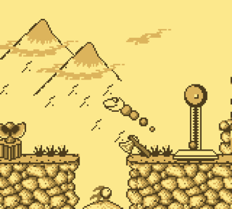 """Snake Rattle 'n' Roll - In Sneaky Snakes players control a snake in side-view, as opposed to the original game's isometric view. Visible in this image are an axe that appears when the player has run out of time, as well as the scale found at the end of the level. A """"nibbley pibbley"""" is visible at the bottom of the screen."""