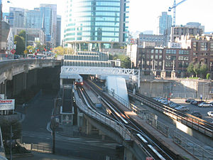 Stadium–Chinatown station - Track and platform configuration at the station (left to right): Spare platform, outbound platform, inbound platform