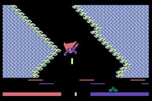 Superman: The Game - Superman in the 'Kryptonite' combat zone mini-game (Atari 800)