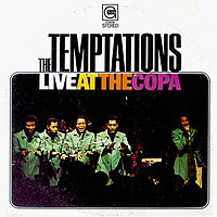 Live at the Copa (1968), the first Temptations album to feature new lead singer Dennis Edwards. Pictured left to right: Dennis Edwards, Melvin Franklin, Paul Williams, Otis Williams, and Eddie Kendricks