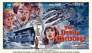 The Devil of Christmas - A poster for the episode, showing Rula Lenska as Celia, Steve Pemberton as Julian, Reece Shearsmith as Klaus and Jessica Raine as Kathy
