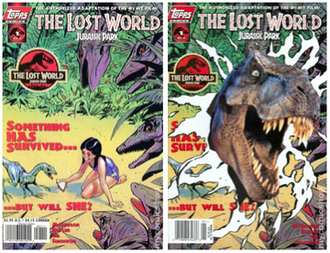 The Lost World: Jurassic Park - Both covers for the first issue of Topps Comics adaptation.