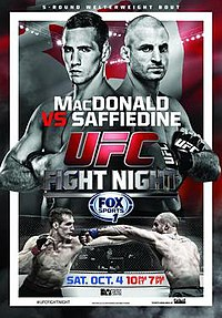 A poster or logo for UFC Fight Night: MacDonald vs. Saffiedine.